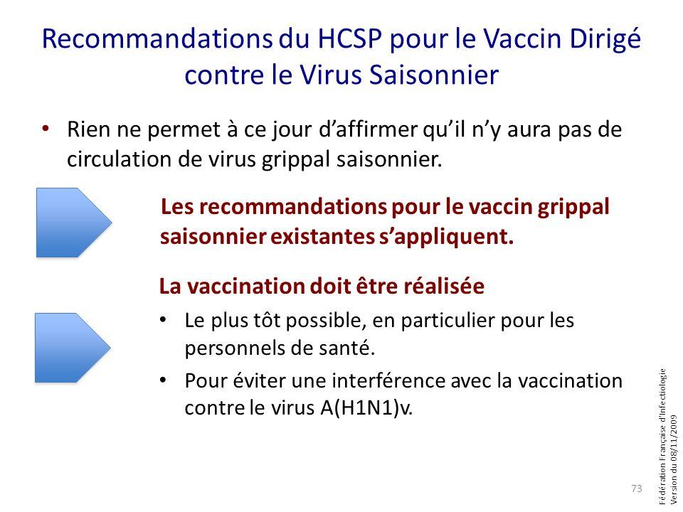 Fédération Française dInfectiologie Version du 08/11/2009 Recommandations du HCSP pour le Vaccin Dirigé contre le Virus Saisonnier Rien ne permet à ce