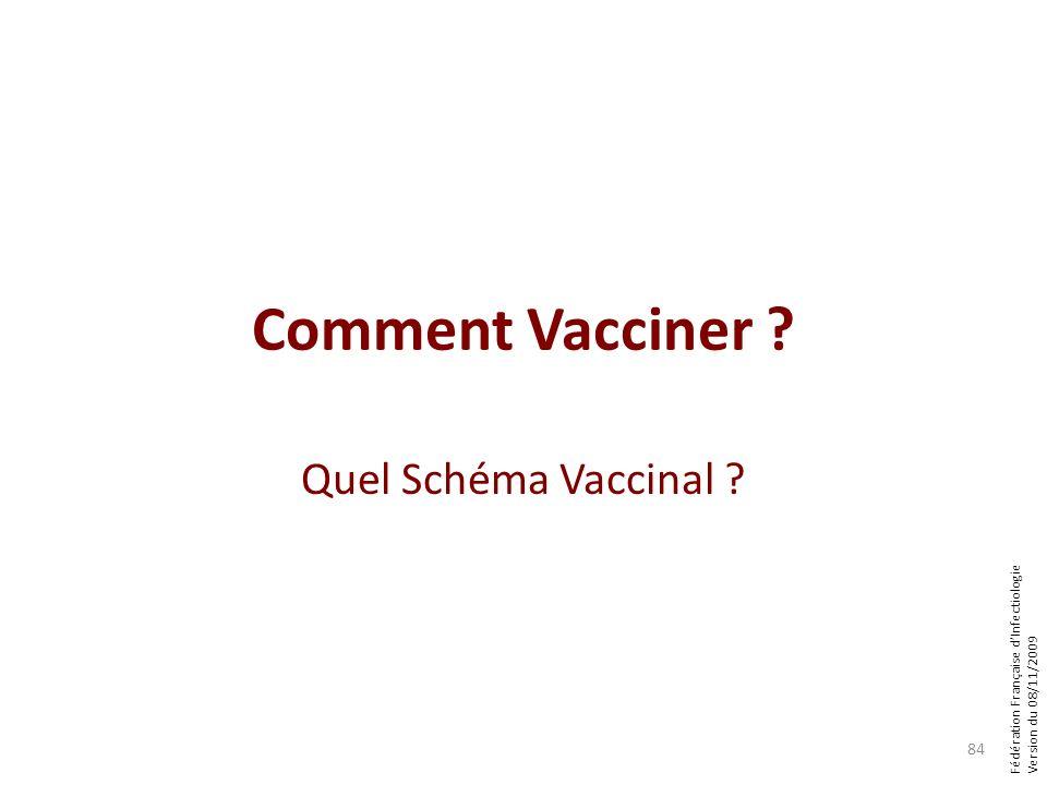 Fédération Française dInfectiologie Version du 08/11/2009 Comment Vacciner ? Quel Schéma Vaccinal ? 84