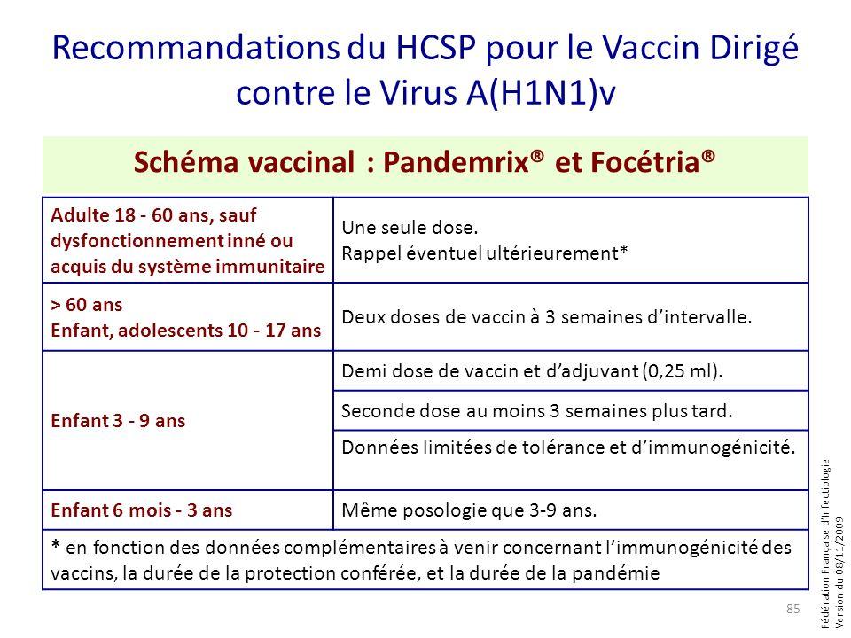 Fédération Française dInfectiologie Version du 08/11/2009 Recommandations du HCSP pour le Vaccin Dirigé contre le Virus A(H1N1)v Schéma vaccinal : Pan