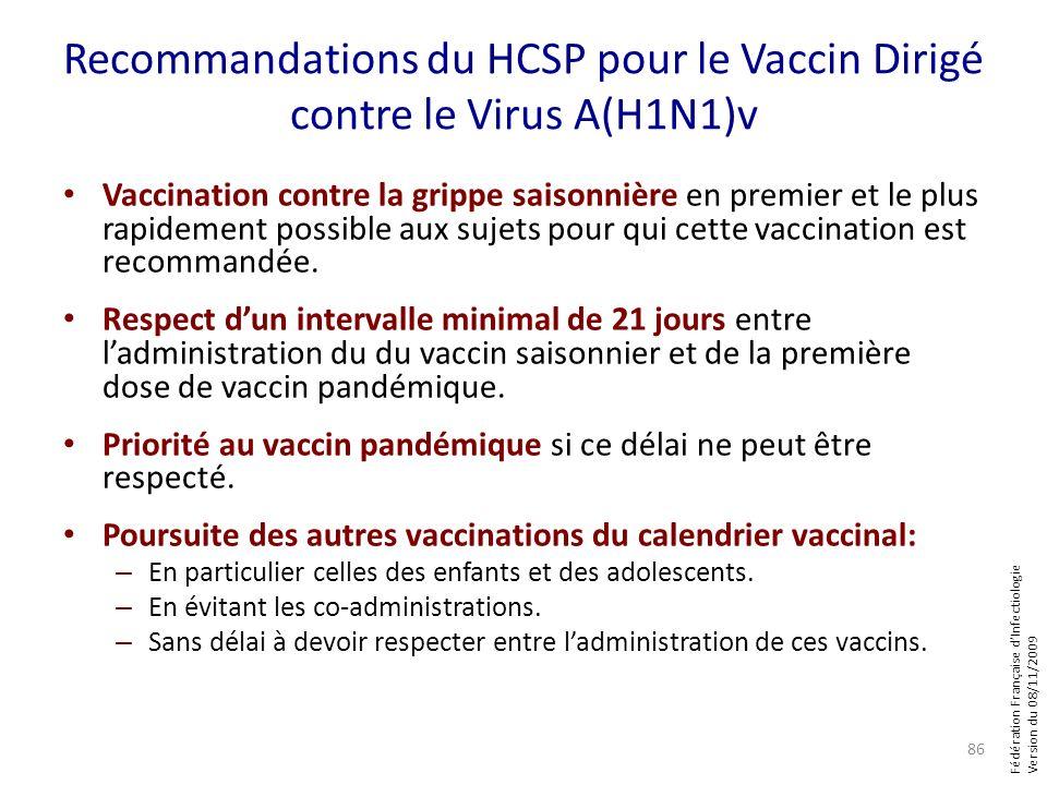 Fédération Française dInfectiologie Version du 08/11/2009 Recommandations du HCSP pour le Vaccin Dirigé contre le Virus A(H1N1)v Vaccination contre la