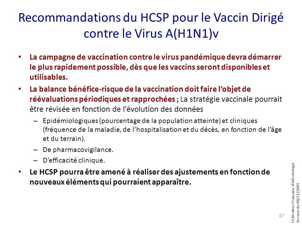 Fédération Française dInfectiologie Version du 08/11/2009 Recommandations du HCSP pour le Vaccin Dirigé contre le Virus A(H1N1)v La campagne de vaccin