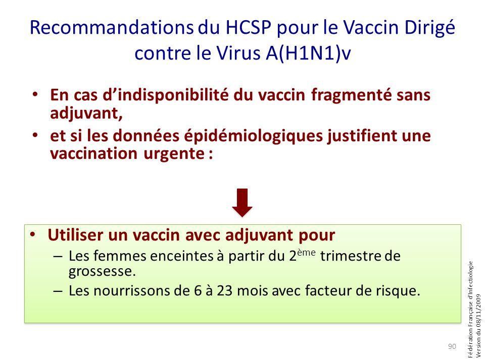 Fédération Française dInfectiologie Version du 08/11/2009 Recommandations du HCSP pour le Vaccin Dirigé contre le Virus A(H1N1)v En cas dindisponibili
