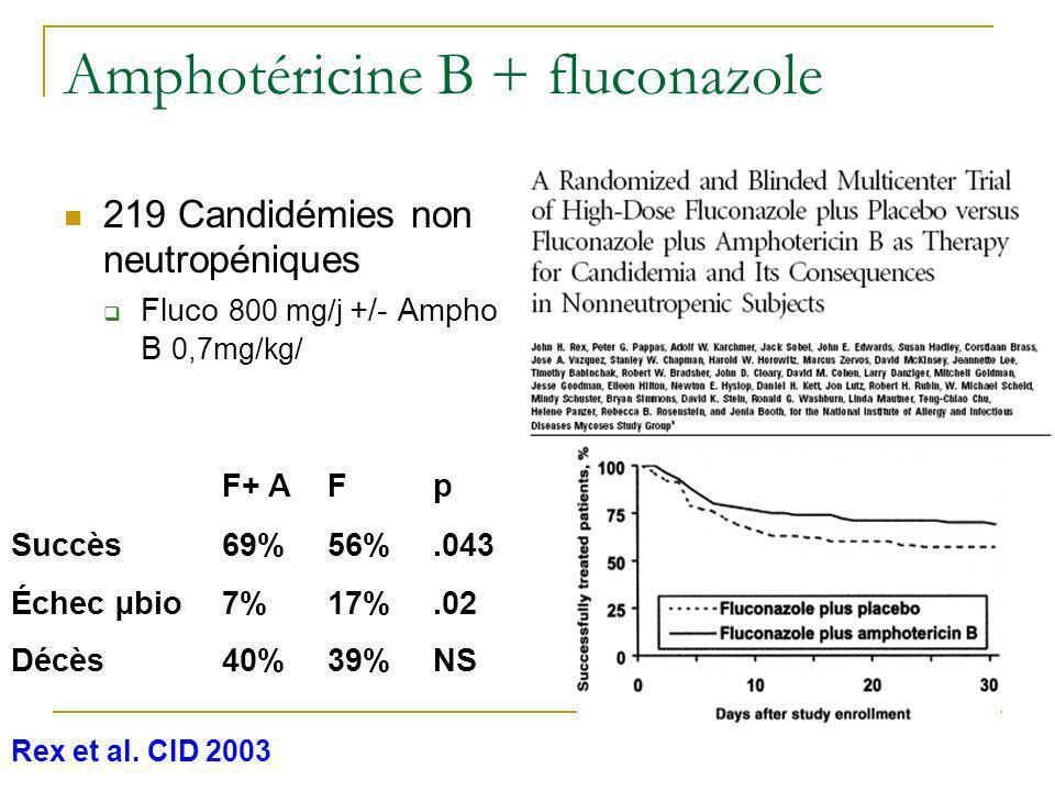 Amphotéricine B + fluconazole 219 Candidémies non neutropéniques Fluco 800 mg/j +/- Ampho B 0,7mg/kg/ Rex et al. CID 2003 F+ AFp Succès69%56%.043 Éche