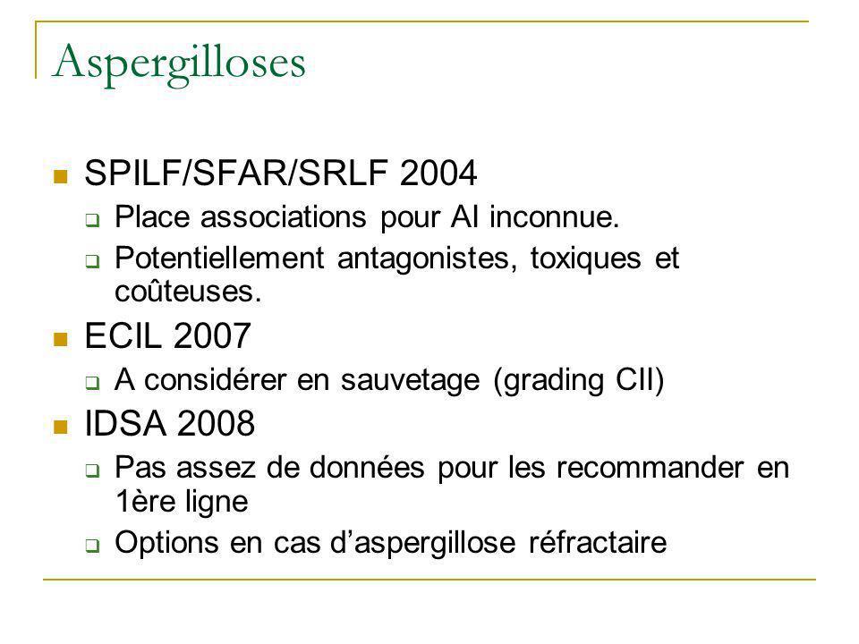 Aspergilloses SPILF/SFAR/SRLF 2004 Place associations pour AI inconnue. Potentiellement antagonistes, toxiques et coûteuses. ECIL 2007 A considérer en