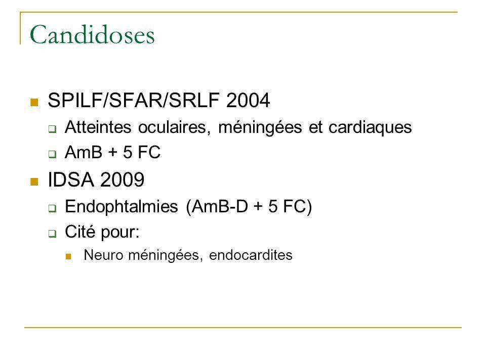 Candidoses SPILF/SFAR/SRLF 2004 Atteintes oculaires, méningées et cardiaques AmB + 5 FC IDSA 2009 Endophtalmies (AmB-D + 5 FC) Cité pour: Neuro méning
