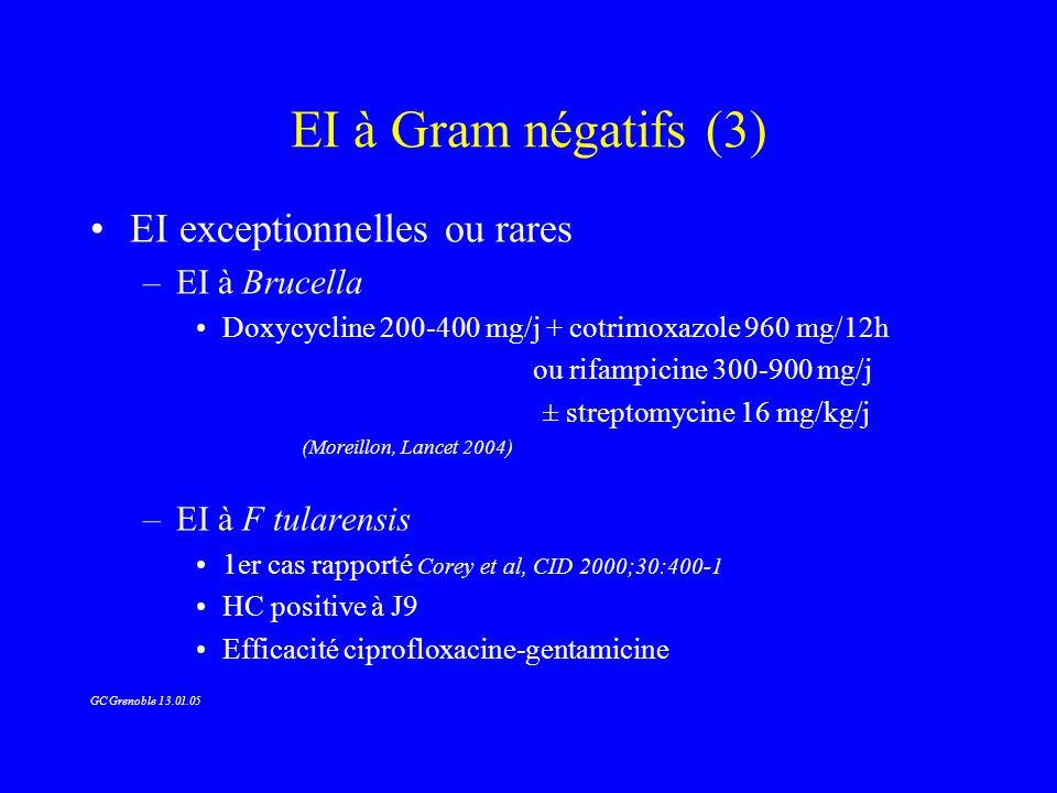 EI à Gram négatifs (3) EI exceptionnelles ou rares –EI à Brucella Doxycycline 200-400 mg/j + cotrimoxazole 960 mg/12h ou rifampicine 300-900 mg/j ± st