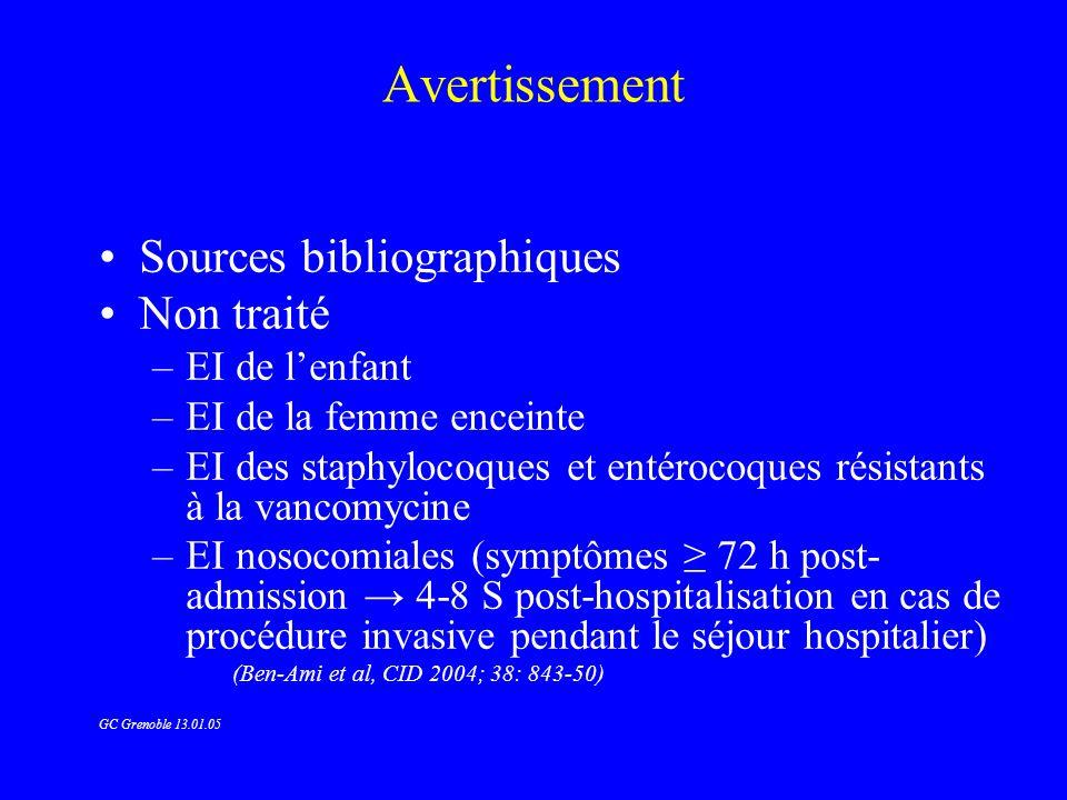 EI à Staphylocoques (6) EI du toxicomane –Péni M + genta 2 S (SMS) ou –Vancomycine + genta 2 S ou –Péni M monothérapie 2 ou 4 S ou –Ciprofloxacine 750 x 2 + rifampicine 300 x 2 p.o.