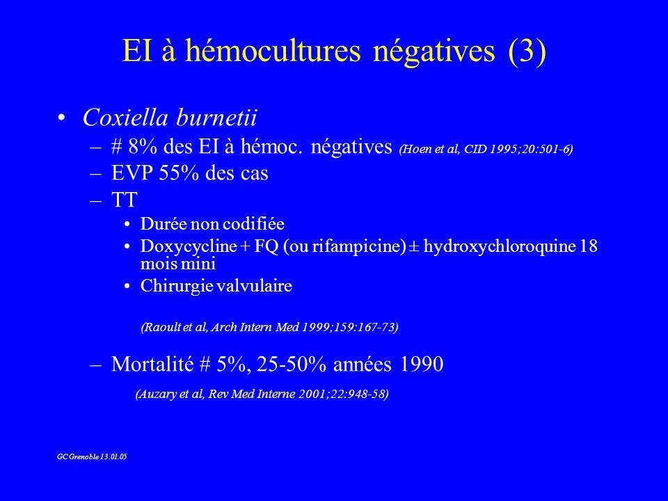 EI à hémocultures négatives (3) Coxiella burnetii –# 8% des EI à hémoc. négatives (Hoen et al, CID 1995;20:501-6) –EVP 55% des cas –TT Durée non codif