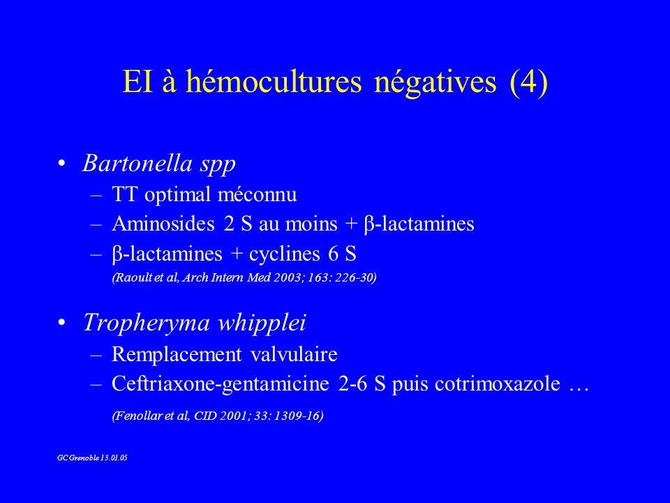 EI à hémocultures négatives (4) Bartonella spp –TT optimal méconnu –Aminosides 2 S au moins + β-lactamines –β-lactamines + cyclines 6 S (Raoult et al,