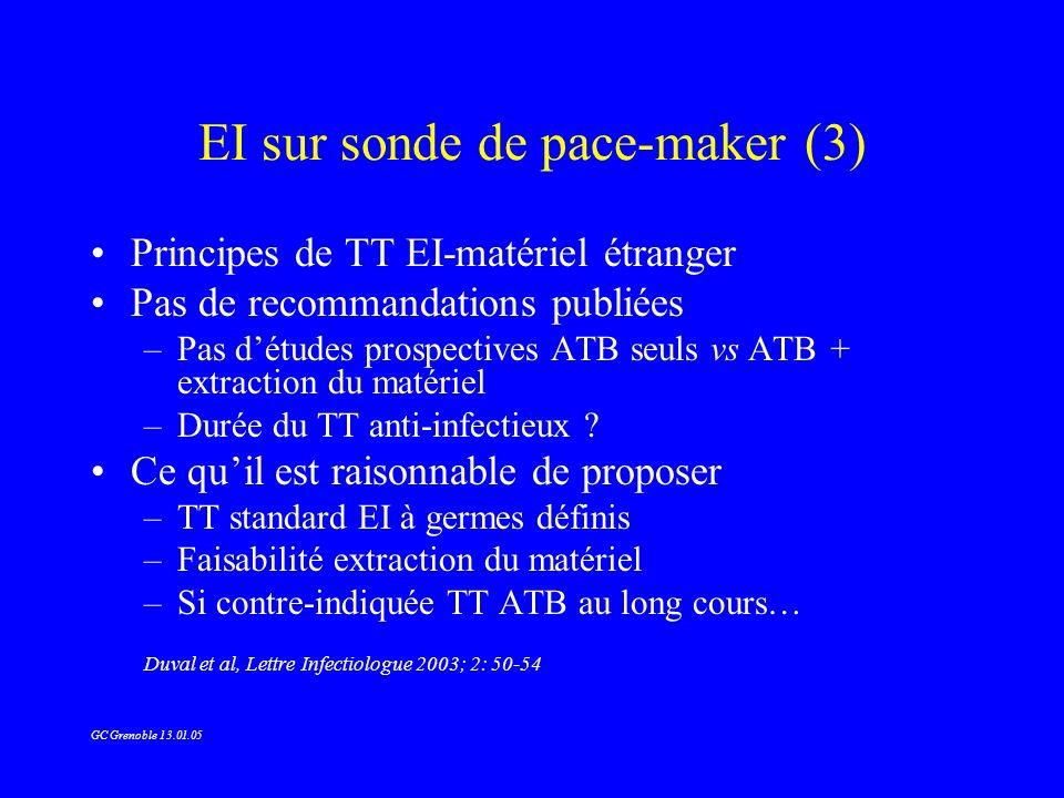EI sur sonde de pace-maker (3) Principes de TT EI-matériel étranger Pas de recommandations publiées –Pas détudes prospectives ATB seuls vs ATB + extra