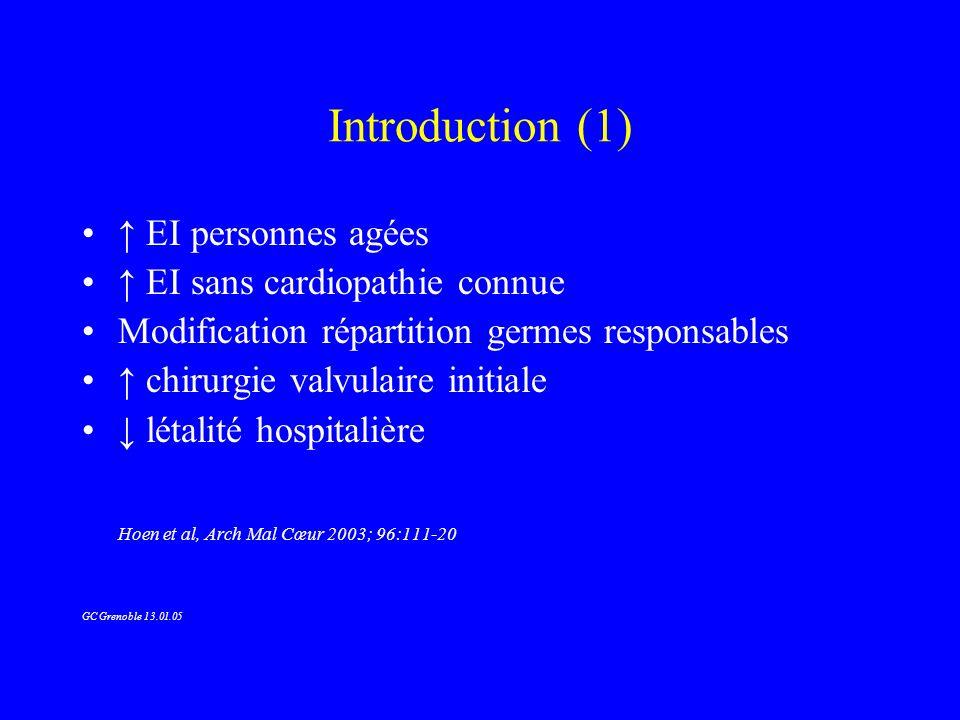 TT chirurgical (4) EI sur VN: indications –Insuffisance cardiaque, mitrale ou aortique aiguë –Infection locale non contrôlée (extension périvalvulaire) –Infection persistante à J7-J10 (ATB efficace) –Micro-organismes de réponse aléatoire au TT Brucella, Coxiella S lugdunensis, entérocoque HNR/aminosides Champignons –Végétation mobile > 10 mm (S1 du TT) ou obstructive –Embolies récurrentes malgré TT approprié GC Grenoble 13.01.05