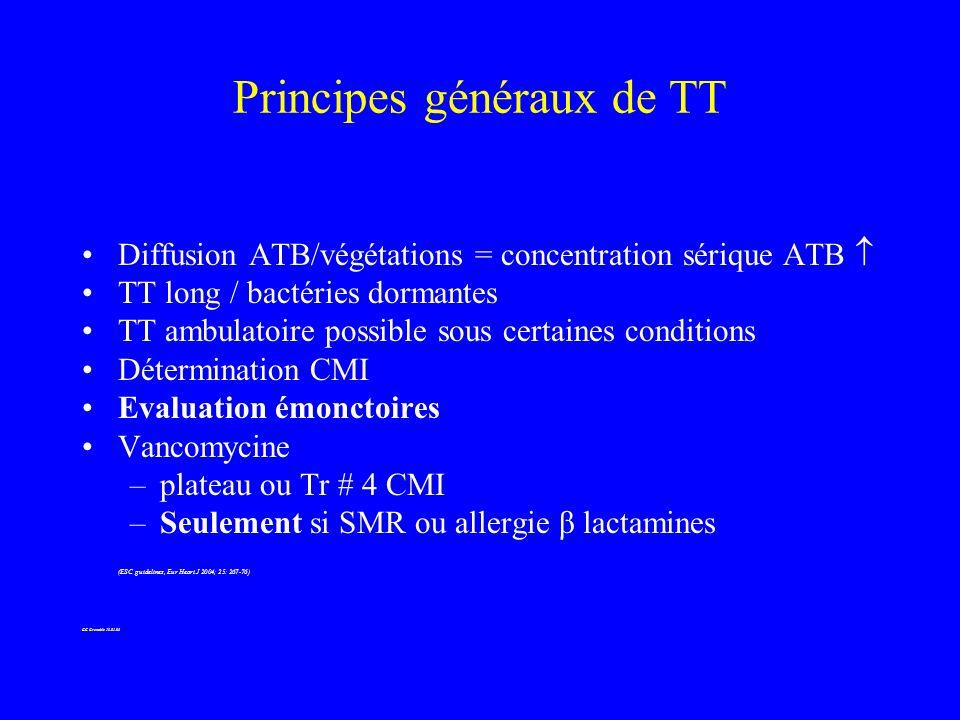 TT ambulatoire (2) Francioli et al (JAMA, 1992) –55 patients/EI streptococciques, ceftriaxone 4 S Pas déchec bactériologique, pas de décès 10 remplacements valvulaires 27 pts sans KT permanents, 40% de TT ambulatoire à 2 S Francioli et al (CID,1995) –52 patients/EI strepto, ceftriaxone/aminosides 2 S 1 échec bactériologique, 5 décès (non infectieux) 7 remplacements valvulaires 5 cas TT ambulatoire stricto sensu,10 cas TT « mixte » GC Grenoble 13.01.05
