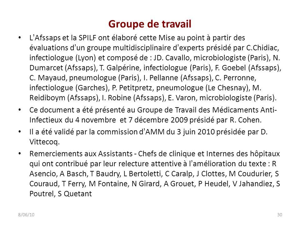 Groupe de travail LAfssaps et la SPILF ont élaboré cette Mise au point à partir des évaluations dun groupe multidisciplinaire dexperts présidé par C.C