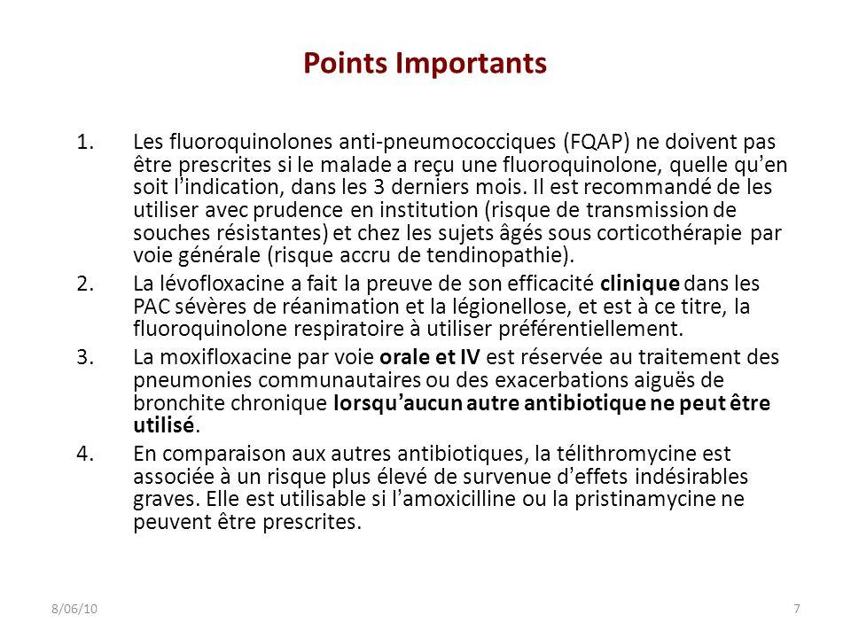 Points Importants 1.Les fluoroquinolones anti-pneumococciques (FQAP) ne doivent pas être prescrites si le malade a reçu une fluoroquinolone, quelle qu