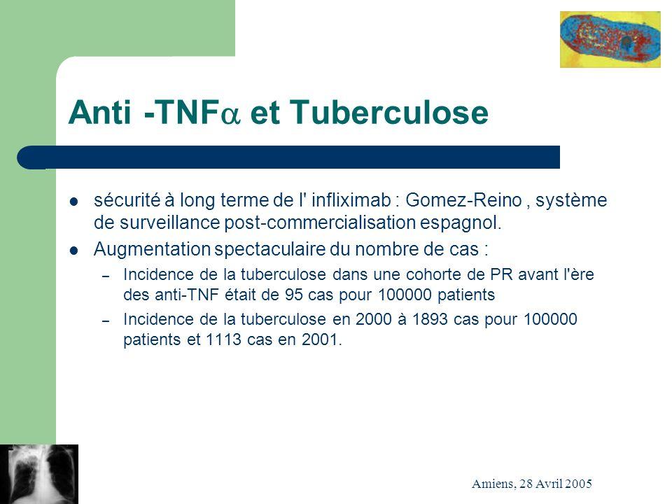 Amiens, 28 Avril 2005 Anti -TNF et Tuberculose sécurité à long terme de l' infliximab : Gomez-Reino, système de surveillance post-commercialisation es