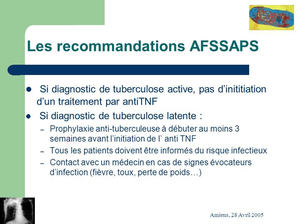 Amiens, 28 Avril 2005 Les recommandations AFSSAPS Si diagnostic de tuberculose active, pas dinititiation dun traitement par antiTNF Si diagnostic de t