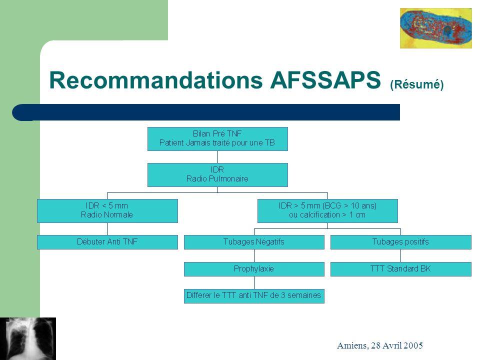 Amiens, 28 Avril 2005 Recommandations AFSSAPS (Résumé)