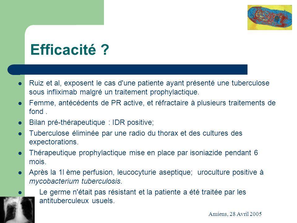 Amiens, 28 Avril 2005 Efficacité ? Ruiz et al, exposent le cas d'une patiente ayant présenté une tuberculose sous infliximab malgré un traitement prop