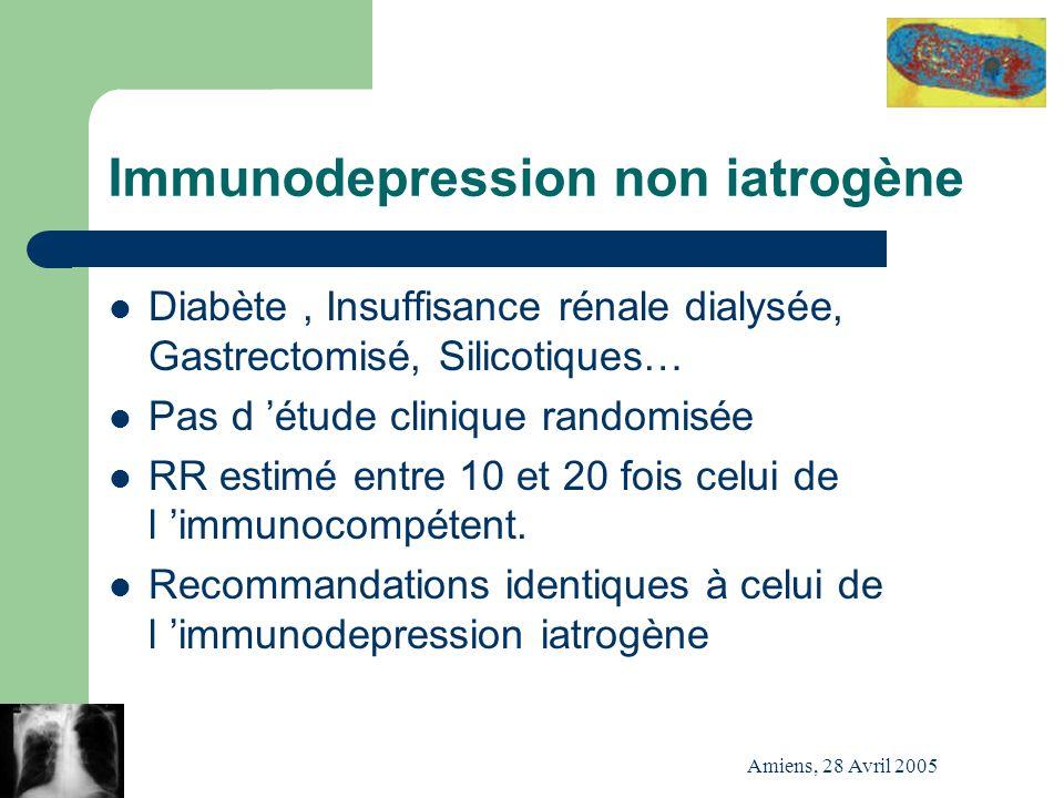 Amiens, 28 Avril 2005 Immunodepression non iatrogène Diabète, Insuffisance rénale dialysée, Gastrectomisé, Silicotiques… Pas d étude clinique randomis