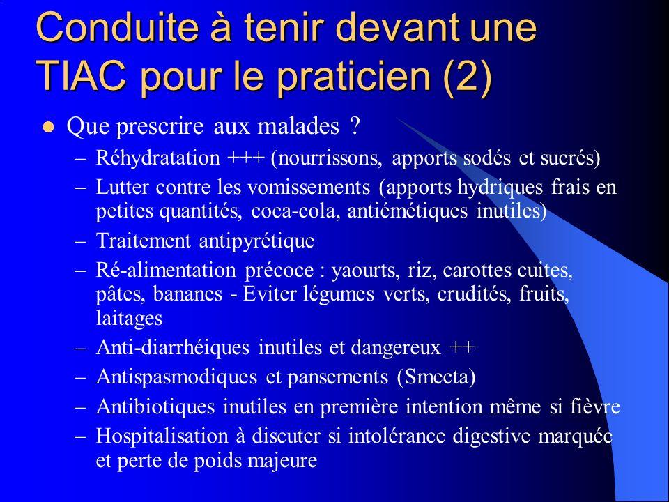 Conduite à tenir devant une TIAC pour le praticien (2) Que prescrire aux malades ? –Réhydratation +++ (nourrissons, apports sodés et sucrés) –Lutter c