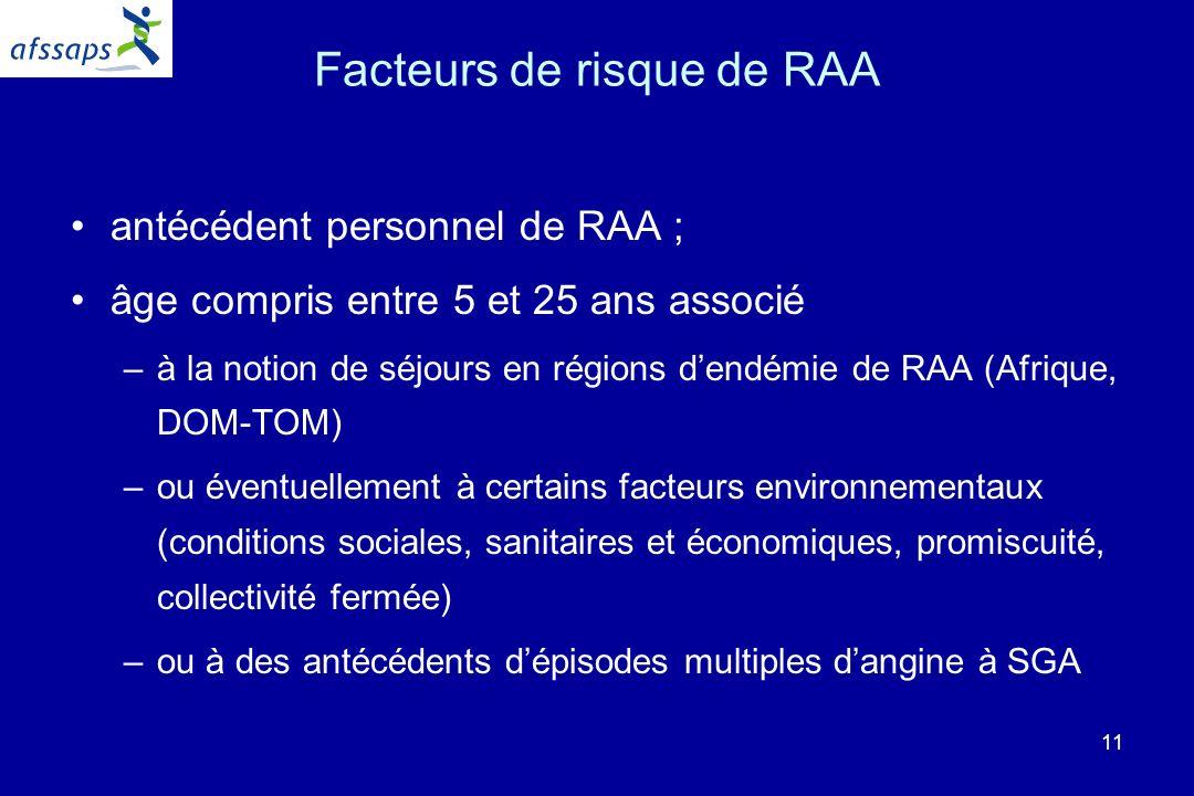 11 Facteurs de risque de RAA antécédent personnel de RAA ; âge compris entre 5 et 25 ans associé –à la notion de séjours en régions dendémie de RAA (Afrique, DOM-TOM) –ou éventuellement à certains facteurs environnementaux (conditions sociales, sanitaires et économiques, promiscuité, collectivité fermée) –ou à des antécédents dépisodes multiples dangine à SGA