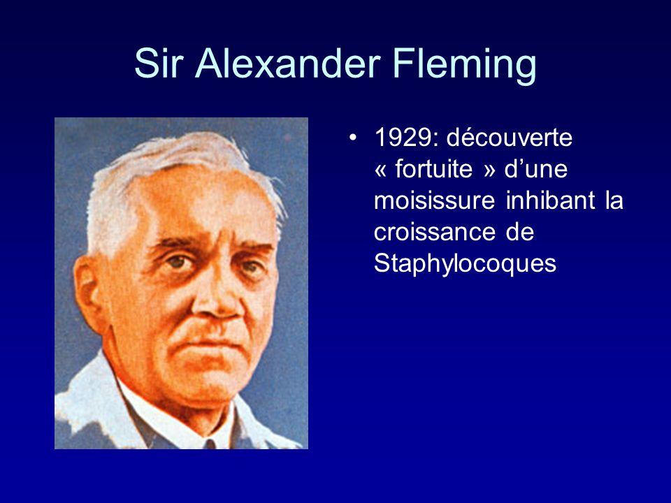 Sir Alexander Fleming 1929: découverte « fortuite » dune moisissure inhibant la croissance de Staphylocoques