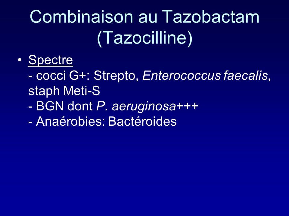 Combinaison à lacide clavulanique (2) (Claventin) Récupère les P. aeruginosa uniquement producteurs de penicillinase Ses indications varient donc selo
