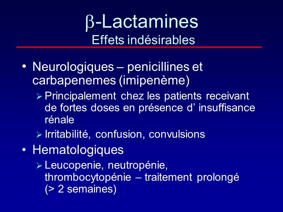 -Lactamines Effets indésirables Hypersensibilité – 3 to 10 % Incidence plus forte en cas de voie parentérale ou associée à la procaine Réactions modér