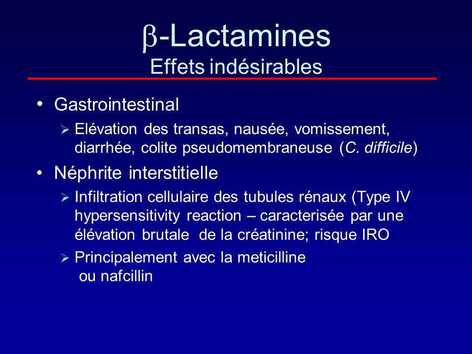 -Lactamines Effets indésirables Neurologiques – penicillines et carbapenemes (imipenème) Principalement chez les patients receivant de fortes doses en