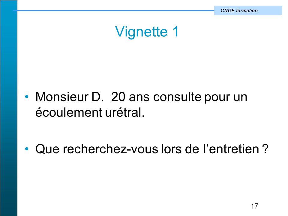 CNGE formation Vignette 1 Monsieur D.20 ans consulte pour un écoulement urétral.
