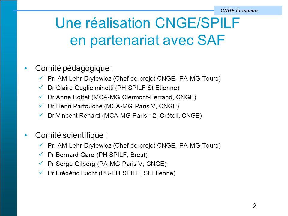 CNGE formation Une réalisation CNGE/SPILF en partenariat avec SAF Comité pédagogique : Pr.