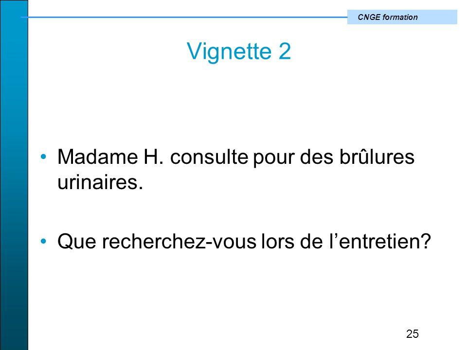 CNGE formation Vignette 2 Madame H.consulte pour des brûlures urinaires.