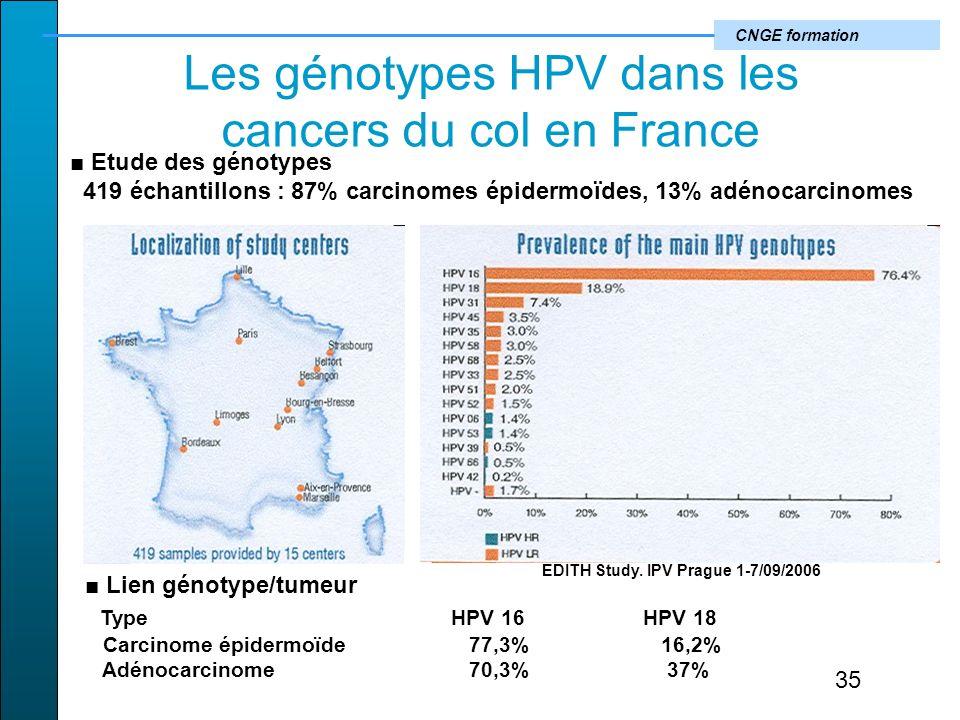 CNGE formation Les génotypes HPV dans les cancers du col en France EDITH Study.