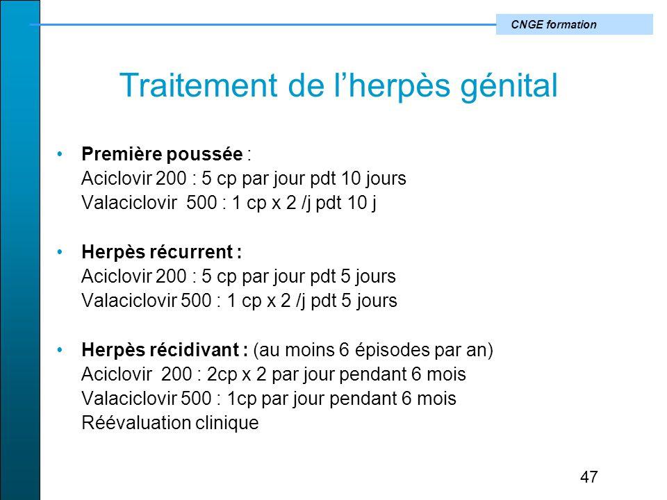 CNGE formation Traitement de lherpès génital Première poussée : Aciclovir 200 : 5 cp par jour pdt 10 jours Valaciclovir 500 : 1 cp x 2 /j pdt 10 j Herpès récurrent : Aciclovir 200 : 5 cp par jour pdt 5 jours Valaciclovir 500 : 1 cp x 2 /j pdt 5 jours Herpès récidivant : (au moins 6 épisodes par an) Aciclovir 200 : 2cp x 2 par jour pendant 6 mois Valaciclovir 500 : 1cp par jour pendant 6 mois Réévaluation clinique 47