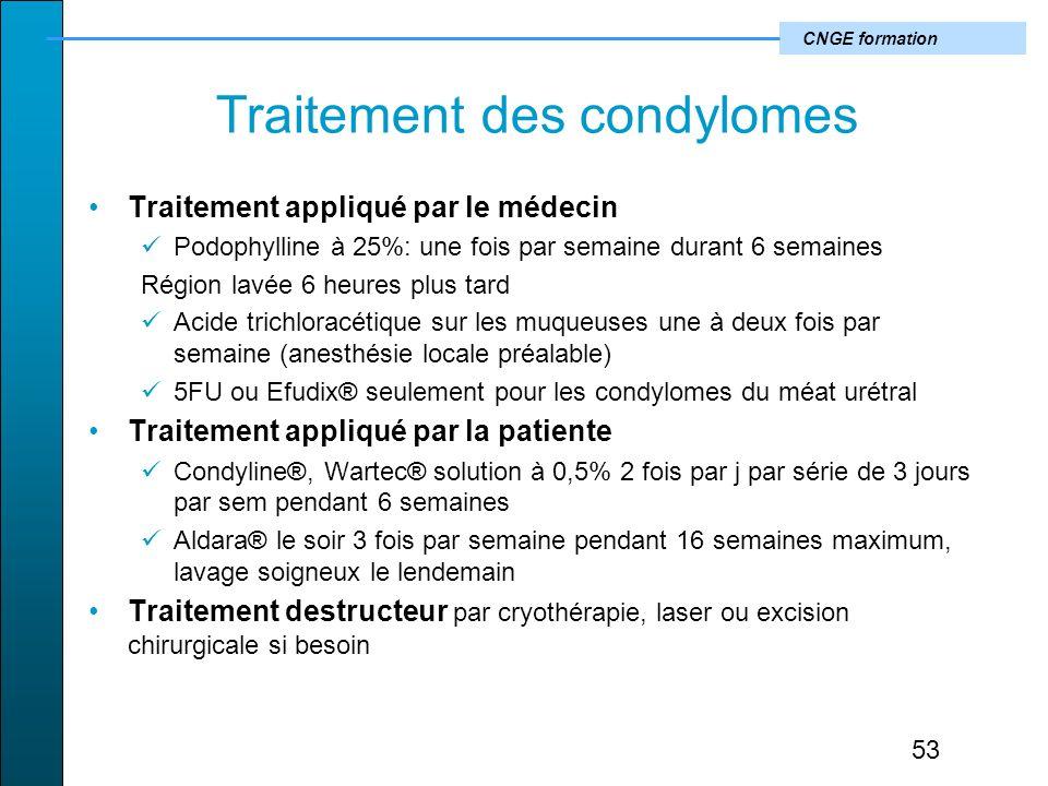CNGE formation Traitement des condylomes Traitement appliqué par le médecin Podophylline à 25%: une fois par semaine durant 6 semaines Région lavée 6 heures plus tard Acide trichloracétique sur les muqueuses une à deux fois par semaine (anesthésie locale préalable) 5FU ou Efudix® seulement pour les condylomes du méat urétral Traitement appliqué par la patiente Condyline®, Wartec® solution à 0,5% 2 fois par j par série de 3 jours par sem pendant 6 semaines Aldara® le soir 3 fois par semaine pendant 16 semaines maximum, lavage soigneux le lendemain Traitement destructeur par cryothérapie, laser ou excision chirurgicale si besoin 53