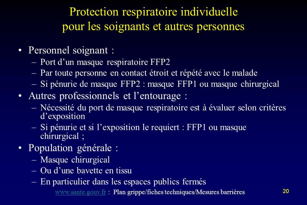 20 Protection respiratoire individuelle pour les soignants et autres personnes Personnel soignant : –Port dun masque respiratoire FFP2 –Par toute pers