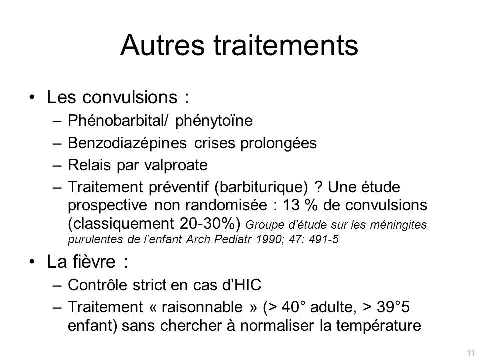 11 Autres traitements Les convulsions : –Phénobarbital/ phénytoïne –Benzodiazépines crises prolongées –Relais par valproate –Traitement préventif (bar