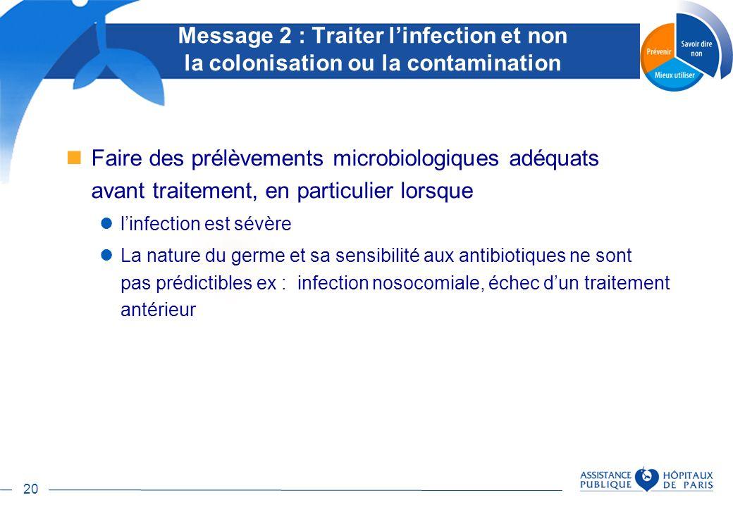 20 Faire des prélèvements microbiologiques adéquats avant traitement, en particulier lorsque linfection est sévère La nature du germe et sa sensibilit