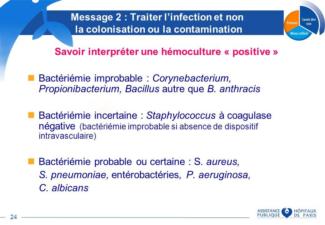 24 Savoir interpréter une hémoculture « positive » Bactériémie improbable : Corynebacterium, Propionibacterium, Bacillus autre que B. anthracis Bactér