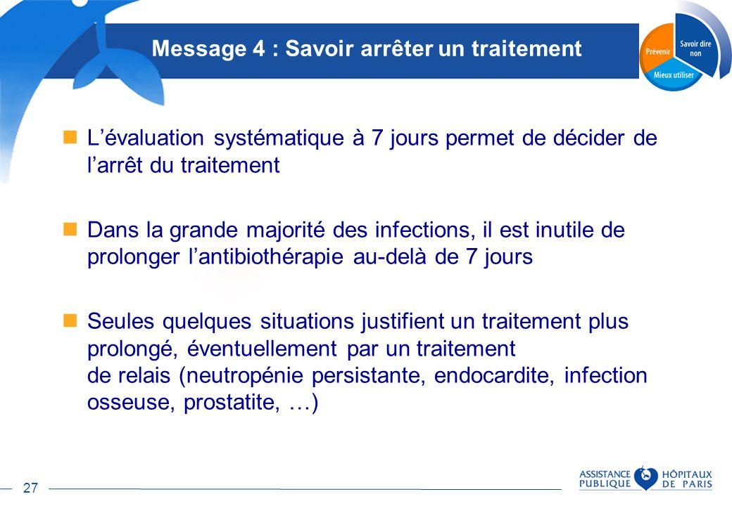 27 Message 4 : Savoir arrêter un traitement Lévaluation systématique à 7 jours permet de décider de larrêt du traitement Dans la grande majorité des i