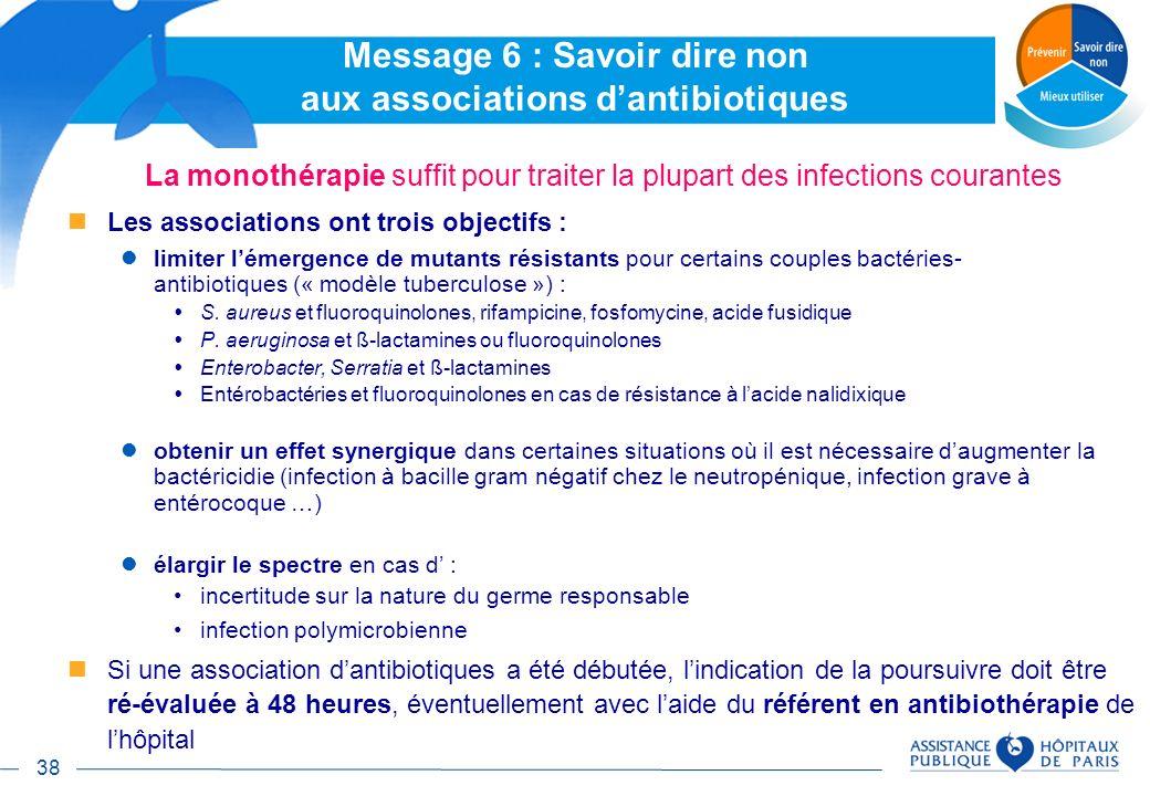38 Message 6 : Savoir dire non aux associations dantibiotiques La monothérapie suffit pour traiter la plupart des infections courantes Les association