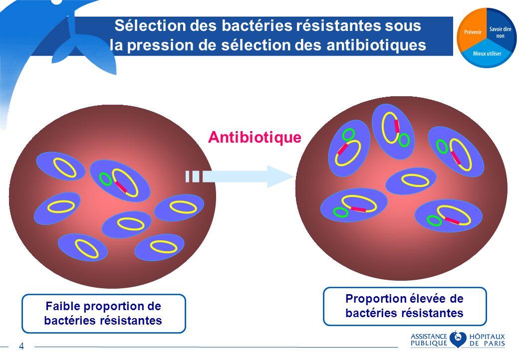 4 Sélection des bactéries résistantes sous la pression de sélection des antibiotiques Faible proportion de bactéries résistantes Antibiotique Proporti