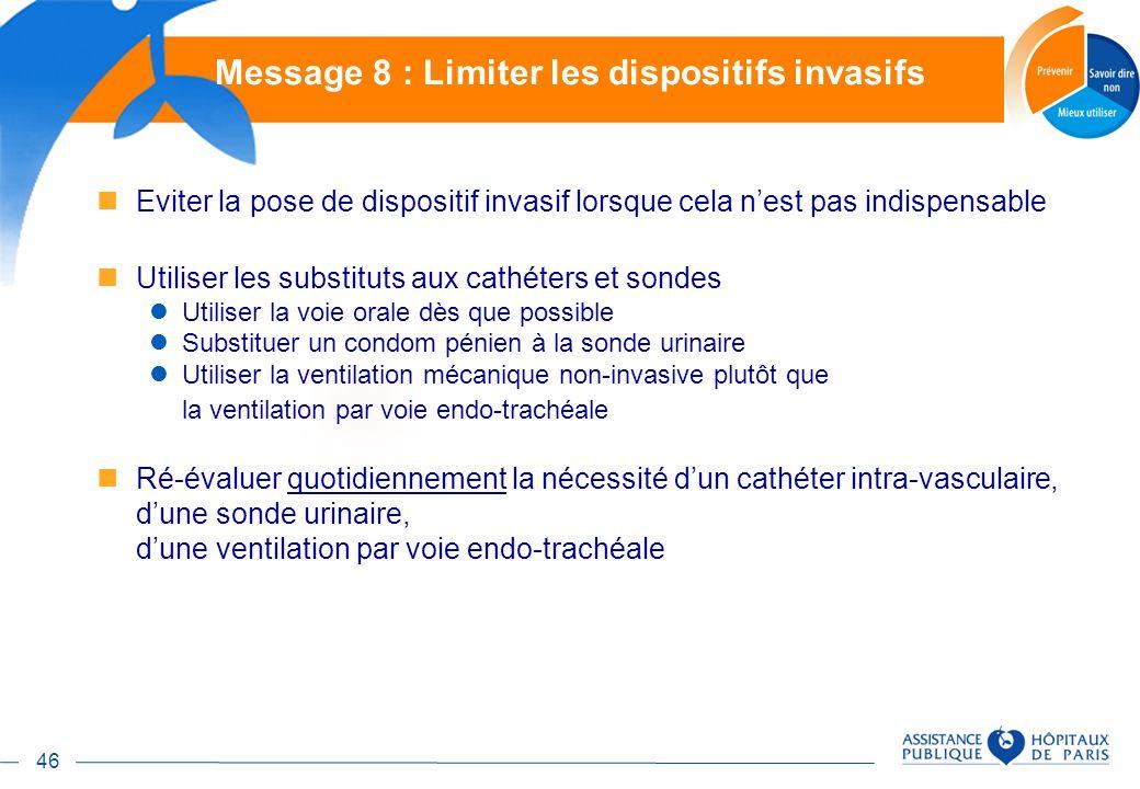 46 Eviter la pose de dispositif invasif lorsque cela nest pas indispensable Utiliser les substituts aux cathéters et sondes Utiliser la voie orale dès