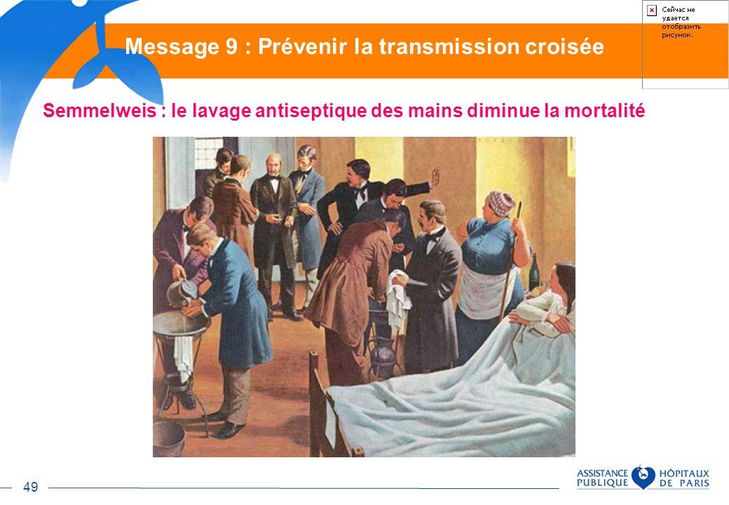 49 Semmelweis : le lavage antiseptique des mains diminue la mortalité Message 9 : Prévenir la transmission croisée
