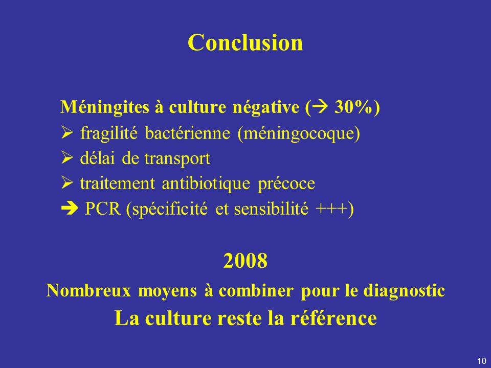 10 Conclusion Méningites à culture négative ( 30%) fragilité bactérienne (méningocoque) délai de transport traitement antibiotique précoce PCR (spécif