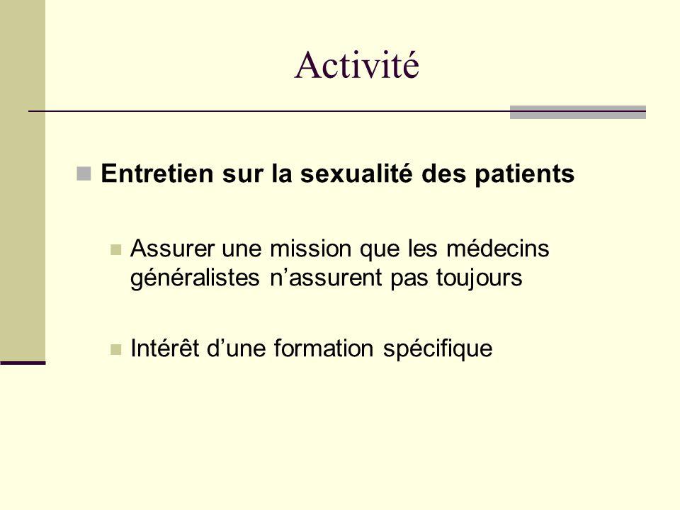 Activité Entretien sur la sexualité des patients Assurer une mission que les médecins généralistes nassurent pas toujours Intérêt dune formation spéci
