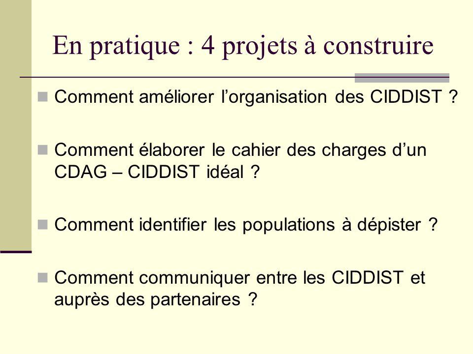 En pratique : 4 projets à construire Comment améliorer lorganisation des CIDDIST ? Comment élaborer le cahier des charges dun CDAG – CIDDIST idéal ? C