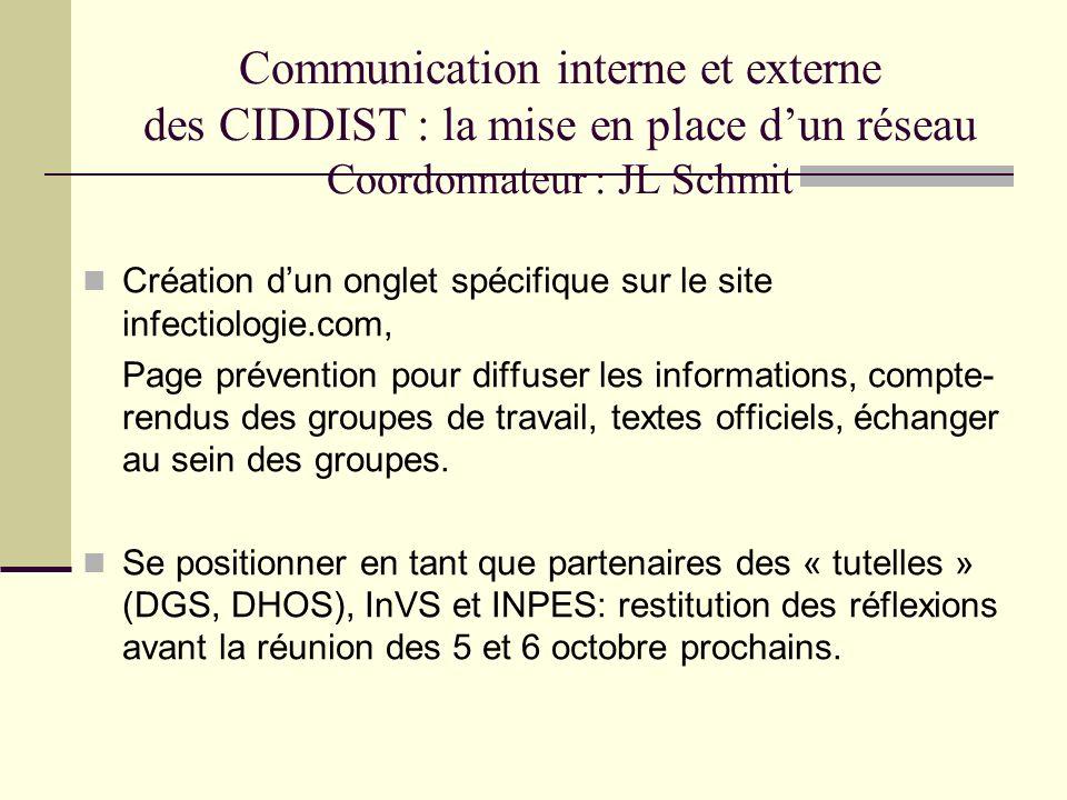 Communication interne et externe des CIDDIST : la mise en place dun réseau Coordonnateur : JL Schmit Création dun onglet spécifique sur le site infect
