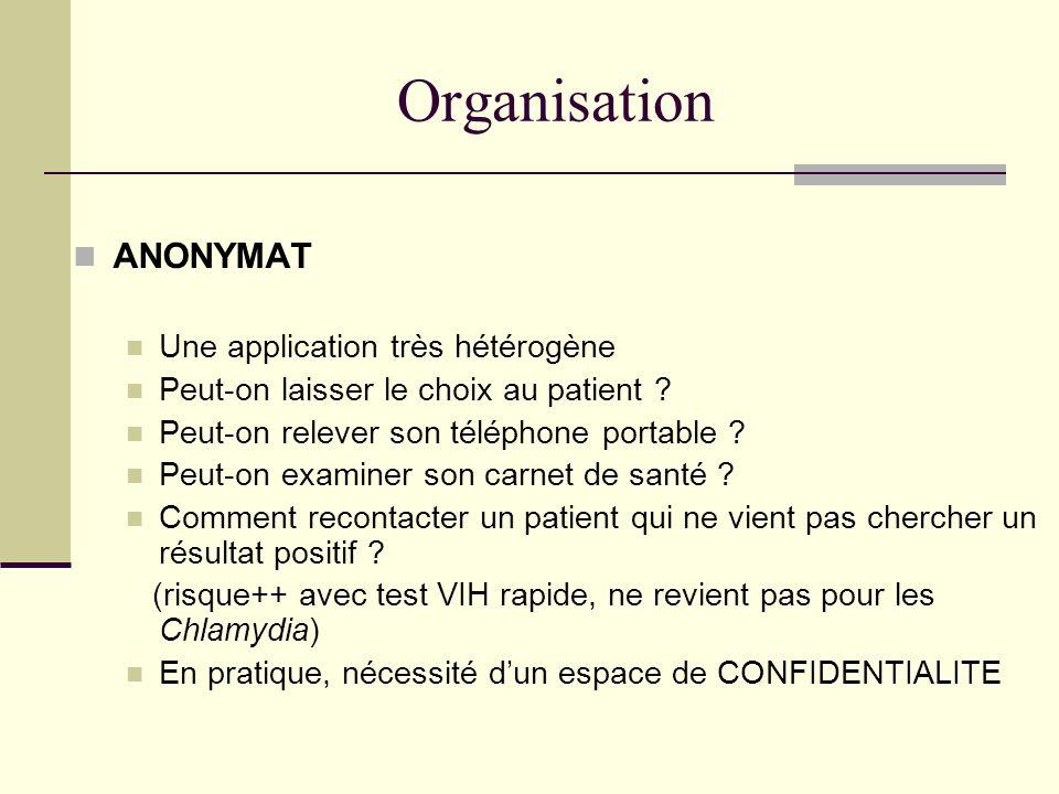 Organisation ANONYMAT Une application très hétérogène Peut-on laisser le choix au patient ? Peut-on relever son téléphone portable ? Peut-on examiner