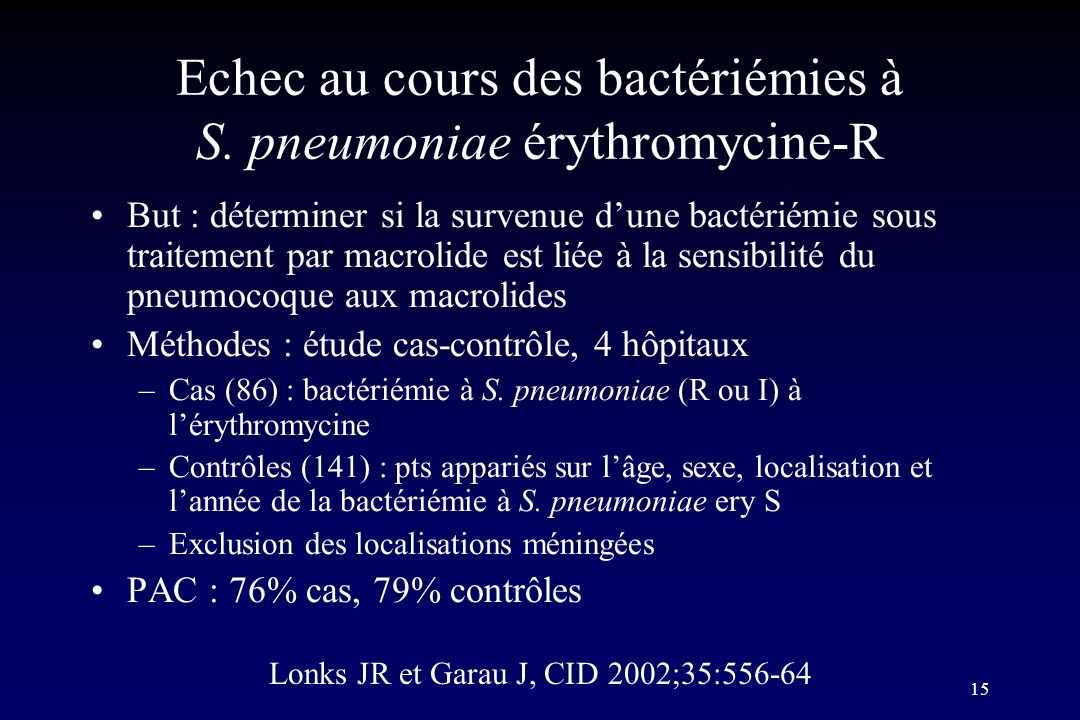 15 But : déterminer si la survenue dune bactériémie sous traitement par macrolide est liée à la sensibilité du pneumocoque aux macrolides Méthodes : é